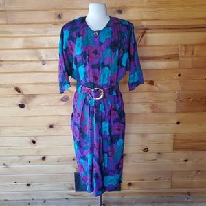 1980s Willy's Influence Multi-Color SecretaryDress